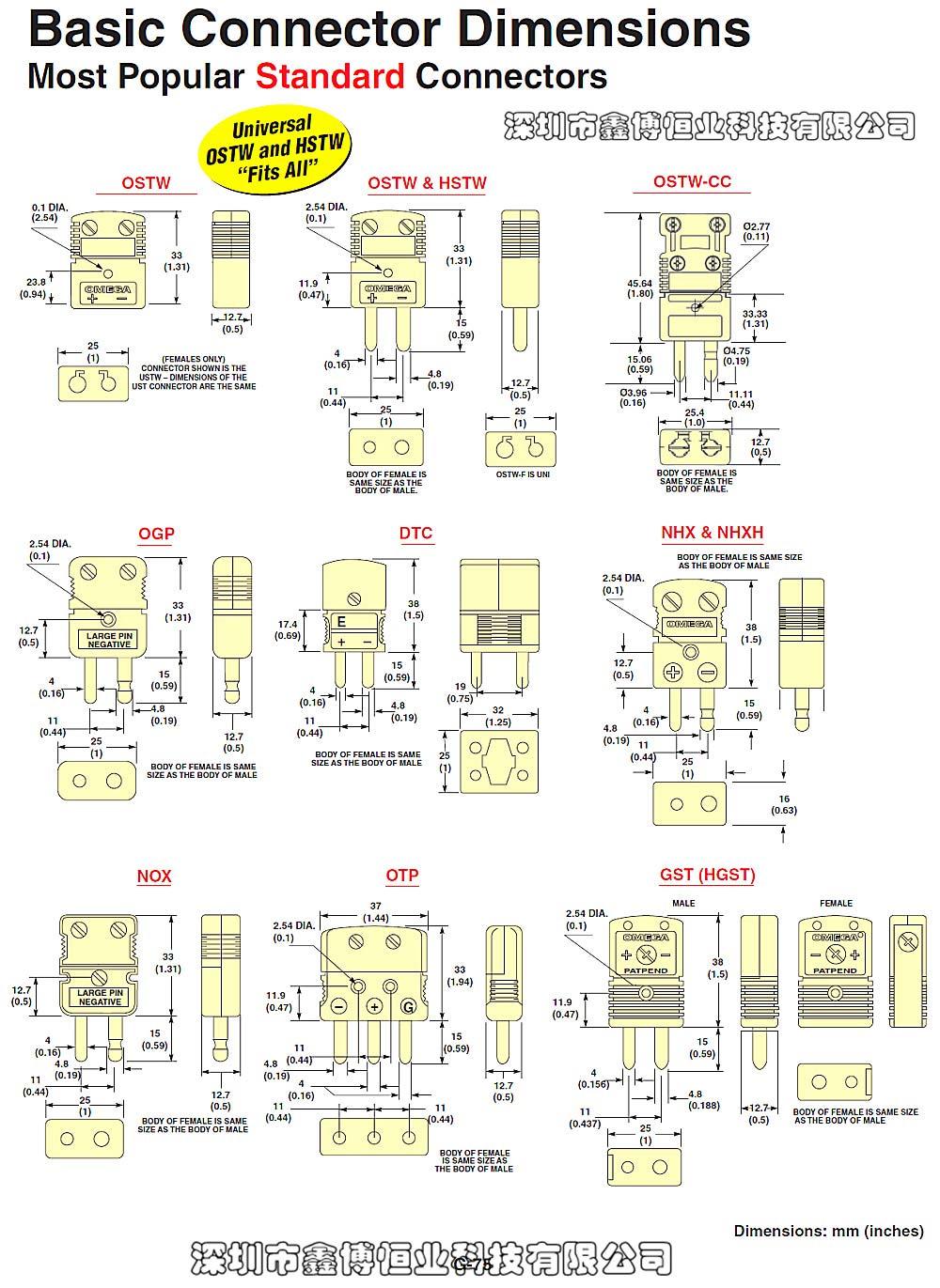 美国omega标准型热电偶连接器 尺寸图-点击放大