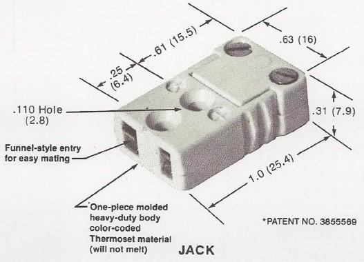 美國Marlin熱電偶插座尺寸圖