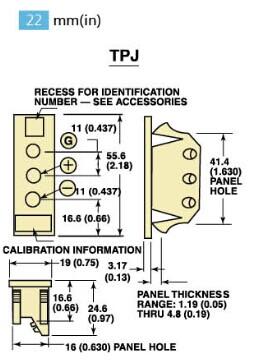 TPJ-(*)-F熱電偶插座 美國omega三孔熱電偶插座-尺寸圖