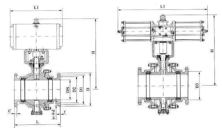 GB标准气动固定球阀Q647