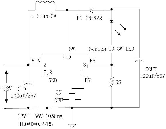 12V輸入大功率升壓1A恒流LED驅動10X3W
