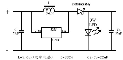 0~4V輸入簡單外圍1w、3W的LED驅動