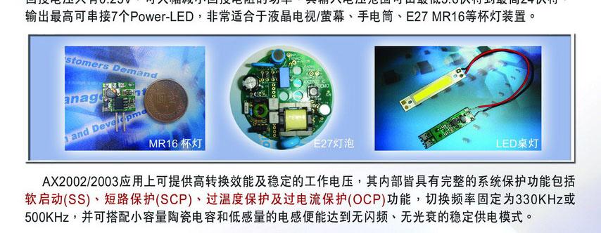 AX2002/AX2003輸出2A、3A的LED降壓驅動