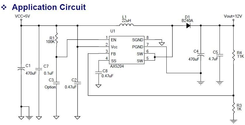 3V~20V輸入升壓輸出3A恒流LED大功率驅動AX5204