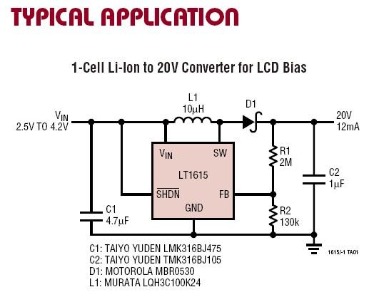 1V~15V輸入,升壓到0~34V的升壓電路LT1615