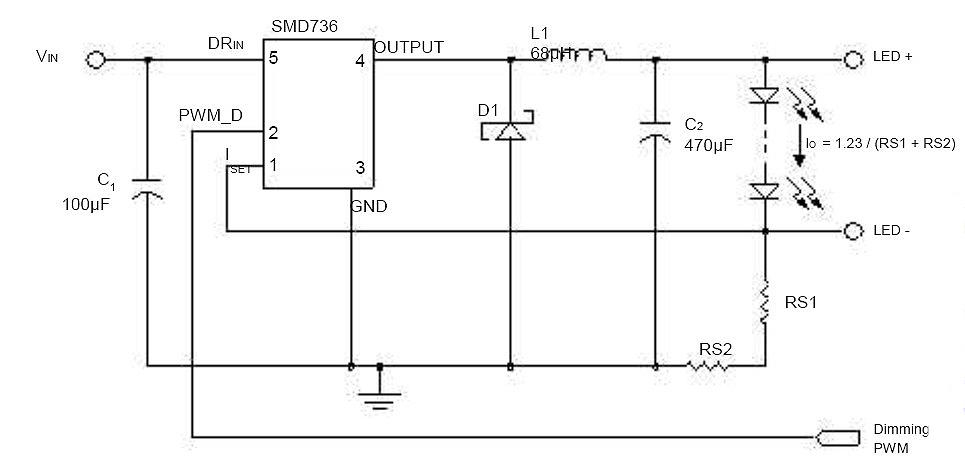 5.5V~40V輸入,3A輸出恒流降壓LED驅動SMD736