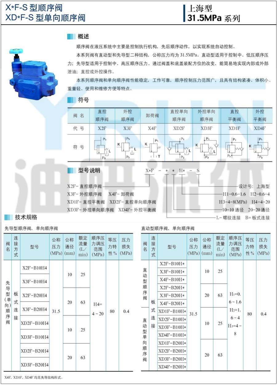 YRUN油研 X4F-B10H2-S X4F-B10H1-S 順序閥