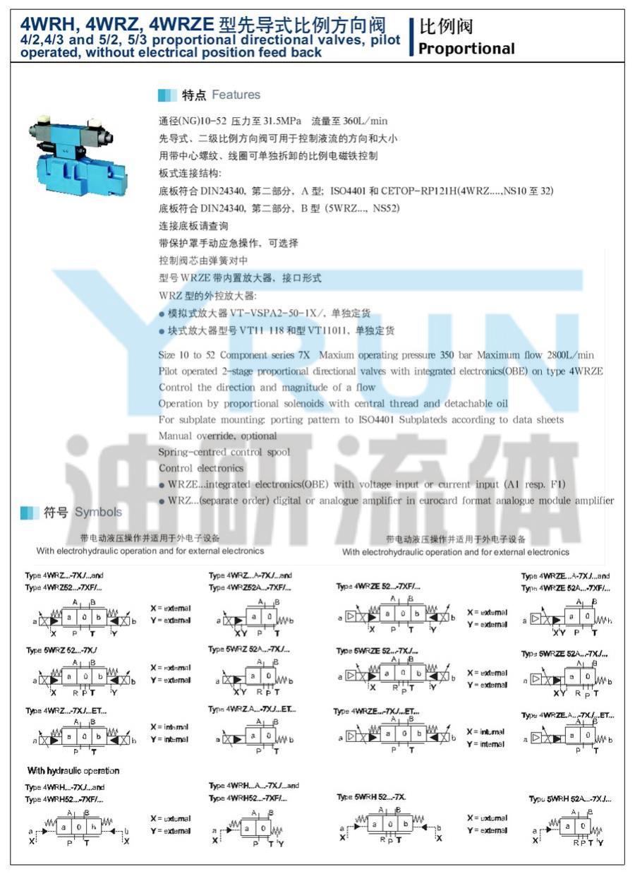 先導式比例方向閥 4WRH16W8 4WRH16W9 4WRH16W6