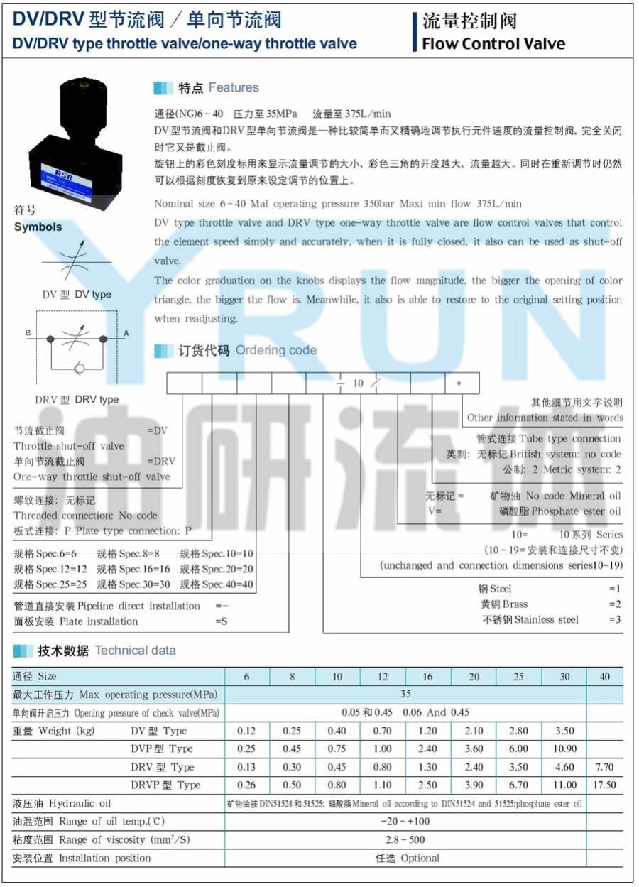 節流閥 DRVP16-3-10 DRVP20-1-10 DRVP20-2-10 DRVP16-1-10 DRVP16-2-10