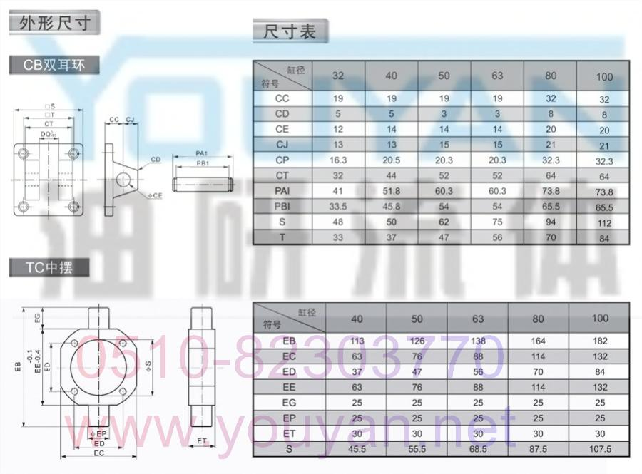 YOUYAN氣缸 SCD100-450 SCD100-500 SCD100-400 氣缸