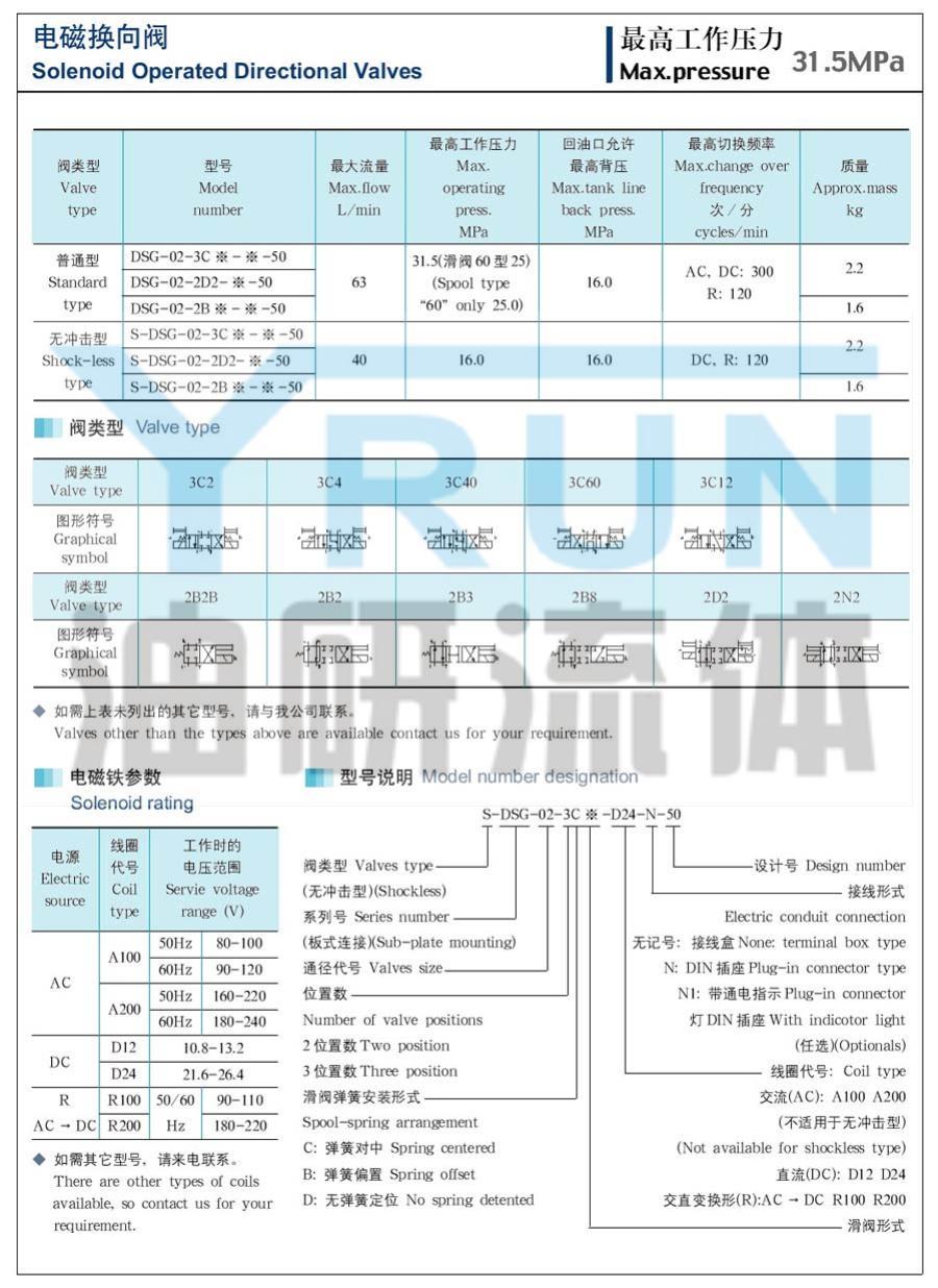 電磁換向閥  S-DSG-02-2N2-D24-50  S-DSG-02-2N2-A220-50