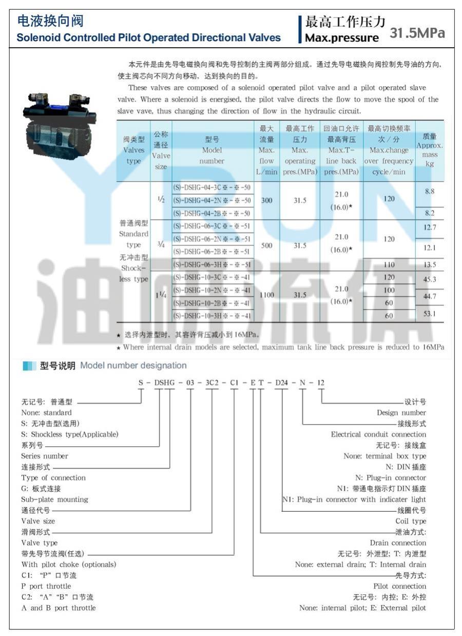 電液換向閥  S-DSHG-03-3C12-D24  S-DSHG-03-3C12-A220    油研電液換向閥  YRUN油研 YUKEN油研