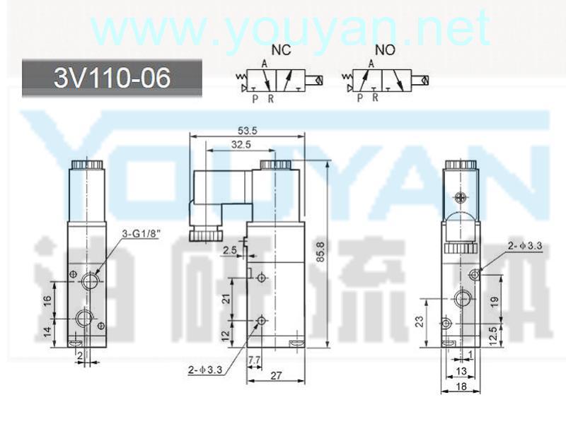 二位三通電磁閥 3V110-06  油研電磁閥