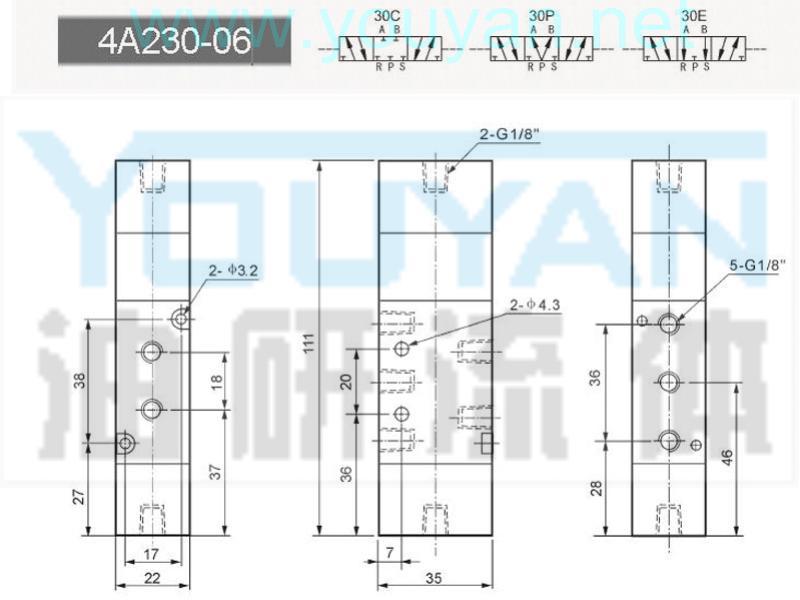 三位五通氣控閥 4A230E-06 4A230P-06 4A230-06 4A230C-06   油研氣控閥 YOUYAN 油研