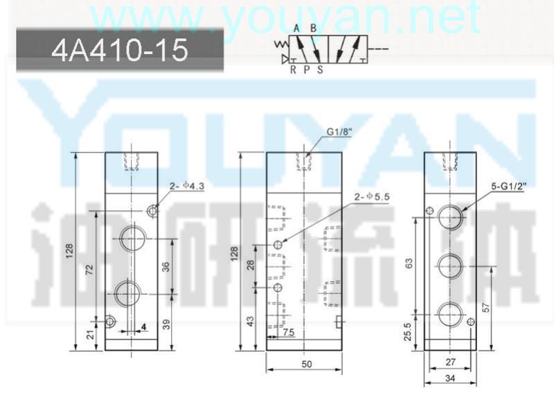 二位五通氣控閥 4A410-15  油研氣控閥
