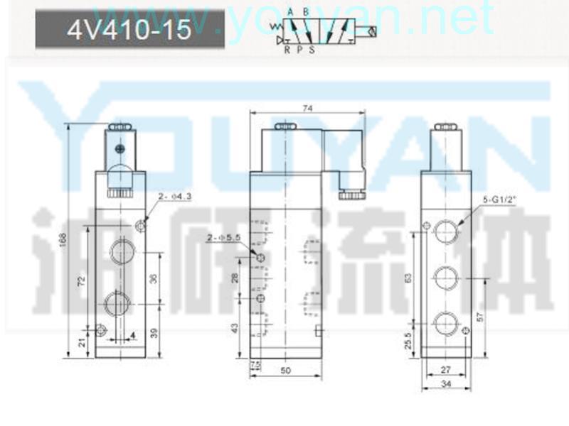 二位五通電磁閥 4V410-15 YOUYAN油研電磁閥