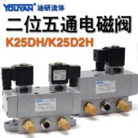 二位五通電磁閥 K25DH-6(G1/8)方形線圈, K25DH-8(G1/4)方形線圈