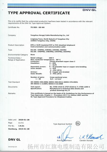 GL船检证书(船用通信电缆3-1)