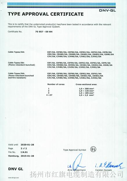 GL船检证书(船用电缆4-2)